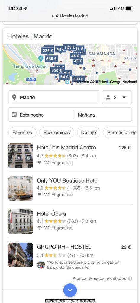 captura de pantalla desde un móvil en Google al buscar hoteles Madrid.
