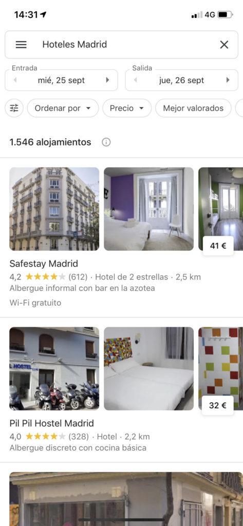 captura de pantalla desde un móvil en Google Maps al buscar hoteles Madrid.