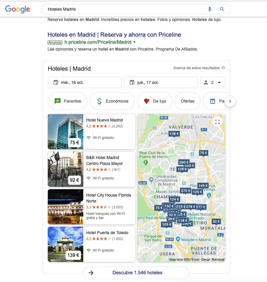 captura de pantalla desde un ordenador en Google al buscar hoteles Madrid.
