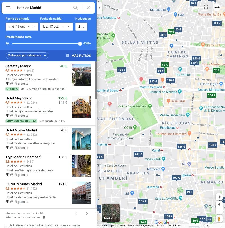 captura de pantalla desde un ordenador en Google Maps al buscar hoteles Madrid.