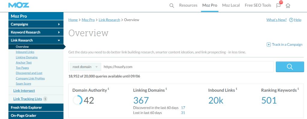 captura de pantalla de la sección Overview de Moz