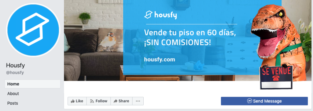 captura de pantalla del Facebook de Housfy