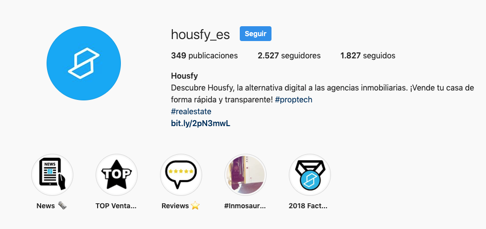 captura de pantalla del Instagram de Housfy