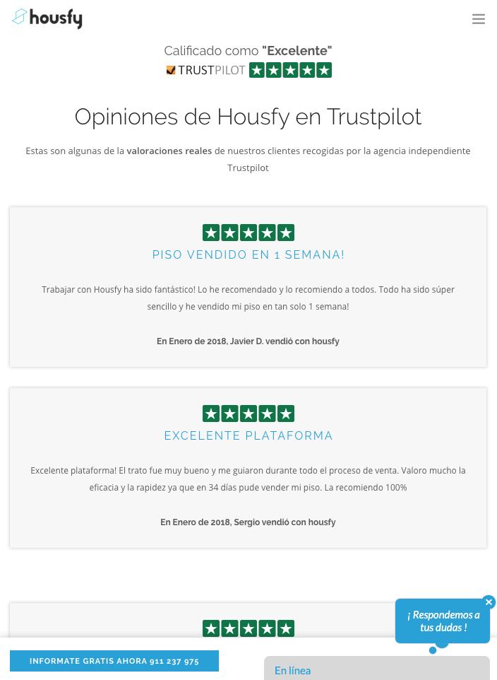 captura de pantalla de la web de Housfy donde aparecen las opiniones de Trustpilot