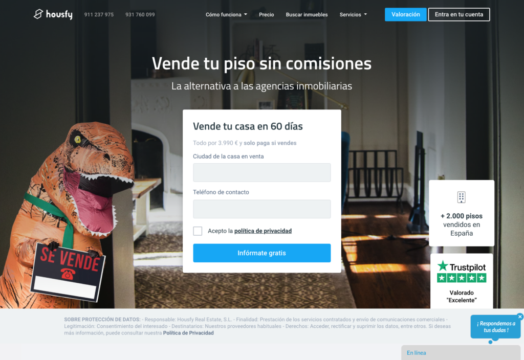 captura de pantalla de la web de Housfy